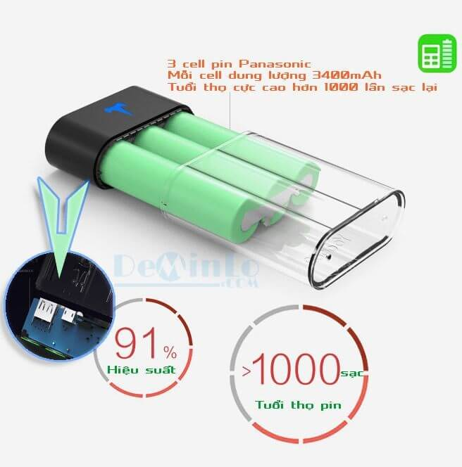 Cell pin Panasonic dung lượng 3400mAh và mạch sạc hiệu suất cao của pin dự phòng Yoobao T1