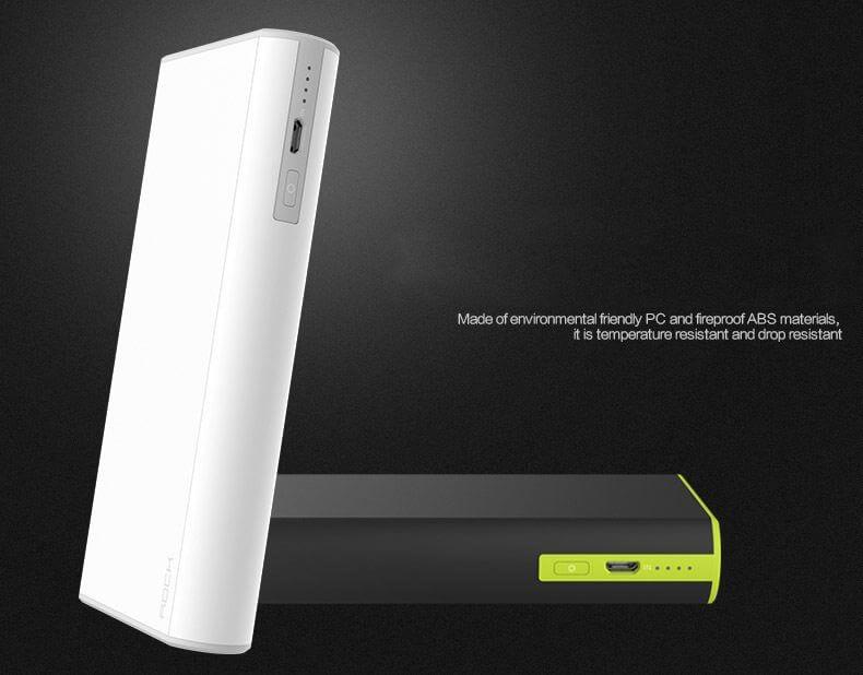 Vỏ pin dự phòng rock cola 10000mAh được làm bằng nhựa ABS + PC siêu bền chịu nhiệt