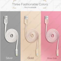 Cáp Lightning dẹp Yoobao YB-413 100cm 3 màu: bạc, vàng đồng, hồng