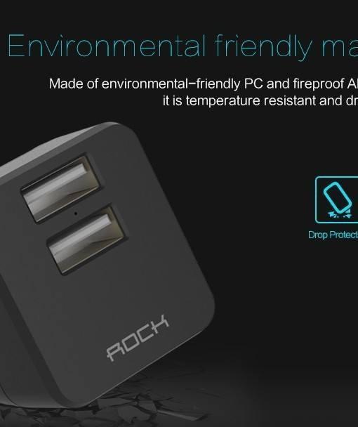 Củ sạc rock với lớp vỏ làm bằng nhựa ABS + PC siêu bền chống cháy