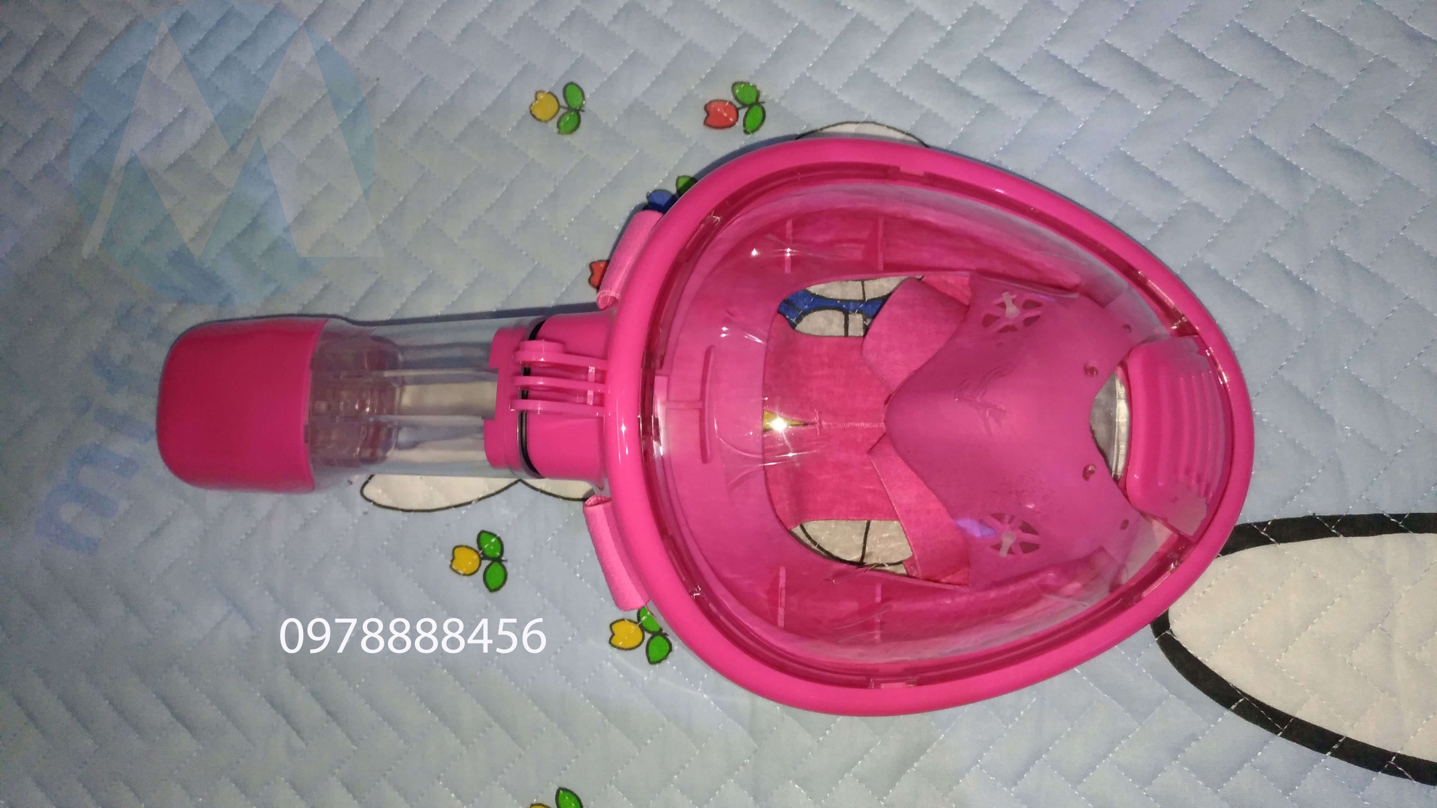 Kính bơi liền ống thở dạng mặt nạ góc nhìn rộng dành cho trẻ em - màu hồng cho bé gái