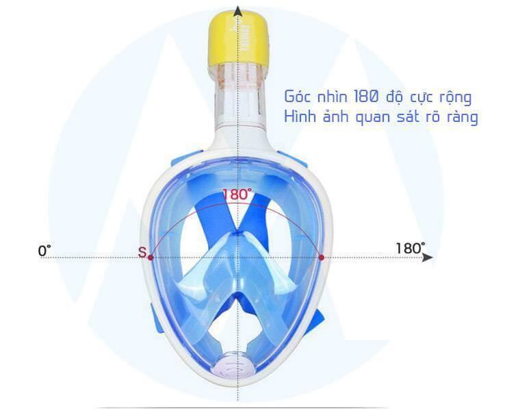 kính lặn full face có góc quan sát cực rộng đến 180 độ, hình ảnh quan sát rõ ràng