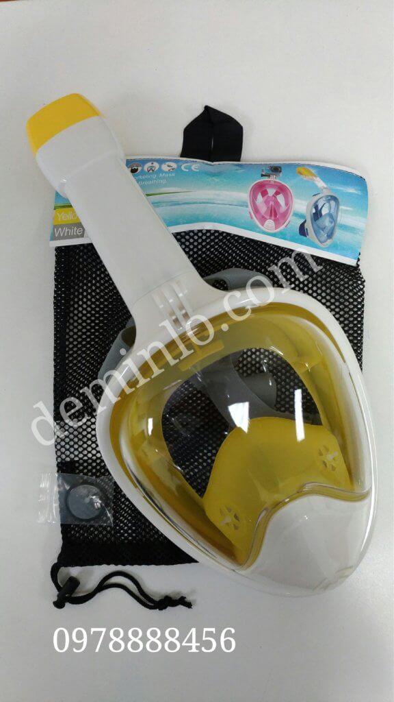 kính lặn full face liền ống thở, mã M2098G góc nhìn rộng nhất. Màu vàng trắng